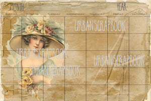 4x6 Vintage Women Monthly undated - DIGITAL