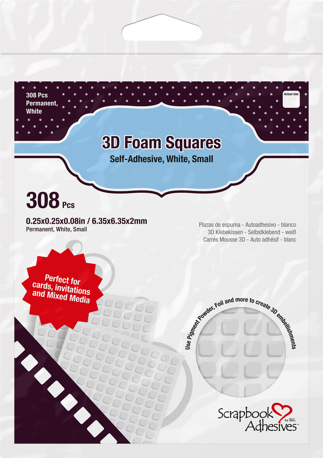 Scrapbook Adhesives 3D Foam Squares White Small