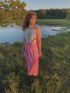 Wildflower & Pink Satin Overall Dress