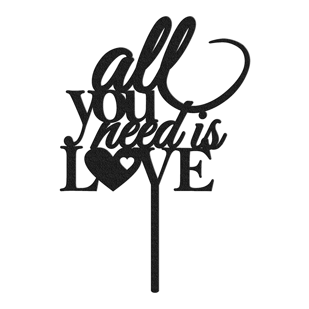 Bluewater Decor All You Need is Love Cake Topper Black