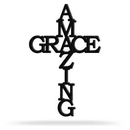 Bluewater Decor Amazing Grace Cross Metal Wall Art Home Decor Black