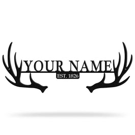 Bluewater Decor Antler Monogram Metal Wall Art Home Decor Black