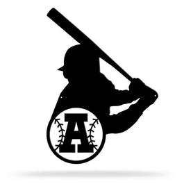 Bluewater Decor Baseball Player Monogram Metal Wall Art Home Decor Black