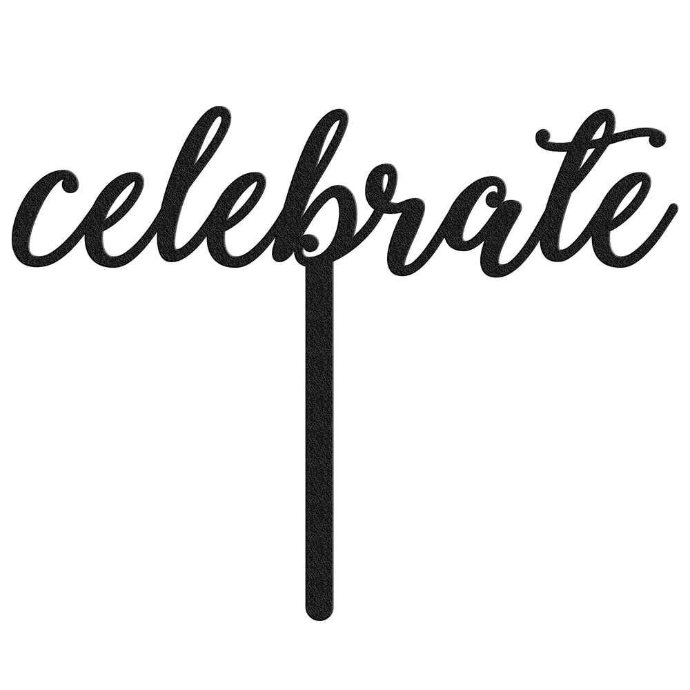 Celebrate Metal Cake Topper - Black