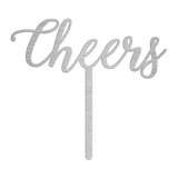 Cheers Wedding Cake Topper - Silver