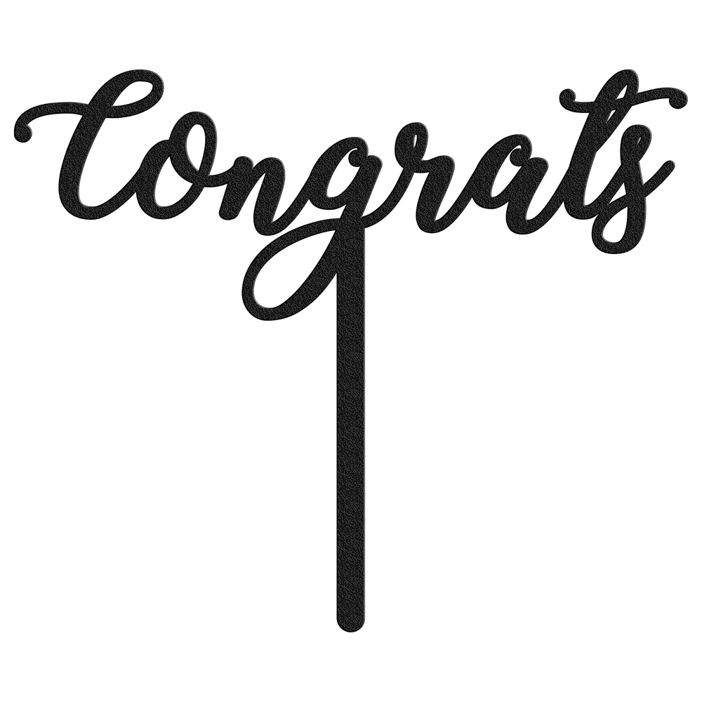 Congrats Metal Wedding Cake Topper - Black