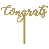 Congrats Metal Wedding Cake Topper - Gold