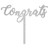 Congrats Metal Wedding Cake Topper - Silver