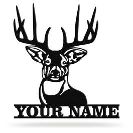 Bluewater Decor Deer Head Antler Monogram Metal Wall Art Home Decor Black