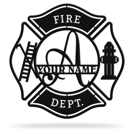 Bluewater Decor Firefighter Monogram Maltese Cross w/ Ladder Metal Wall Art Home Decor Black
