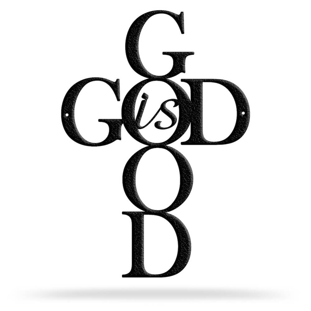 Bluewater Decor God is Good Metal Wall Art Decor Black
