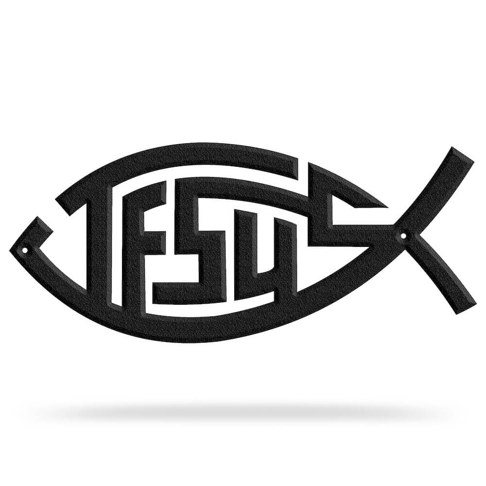 Bluewater Decor Jesus Fish Black Metal Wall Decor Sign