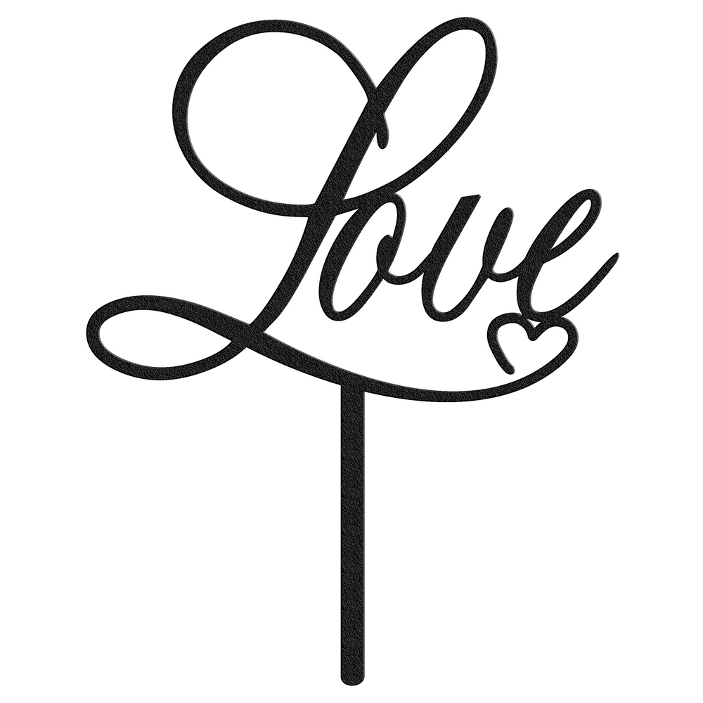 Love Metal Cake Topper - Black