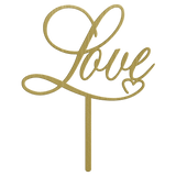 Love Metal Cake Topper - Gold