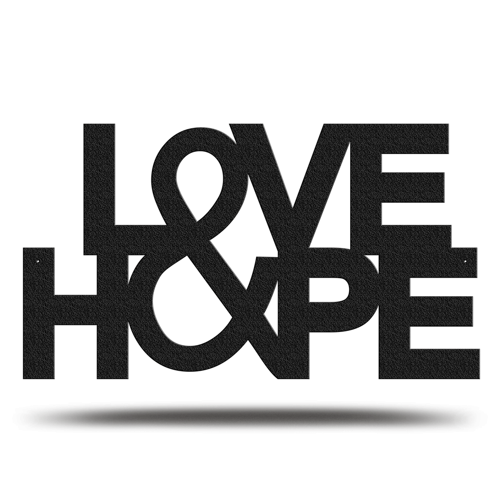 Bluewater Decor Love & Hope Metal Sign Art Black