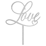 Love Metal Cake Topper - Silver
