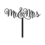 Bluewater Decor Mr. & Mrs. Cake Topper Sign Black