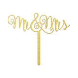 Bluewater Decor Mr. & Mrs. Cake Topper Sign Gold