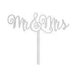 Bluewater Decor Mr. & Mrs. Cake Topper Sign Silver
