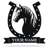 Bluewater Decor Horseshoe Horse Monogram Metal Wall Art Home Decor Black