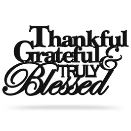 Bluewater Decor Thankful Grateful & Truly Blessed Metal Art Sign Black