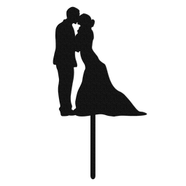 Bluewater Decor Wedding Couple Cake Topper Black