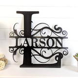 Bluewater Decor Swirl Split Letter Monogram Home Decor Metal Art Black
