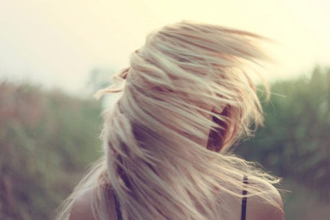 blonde with wind in hair