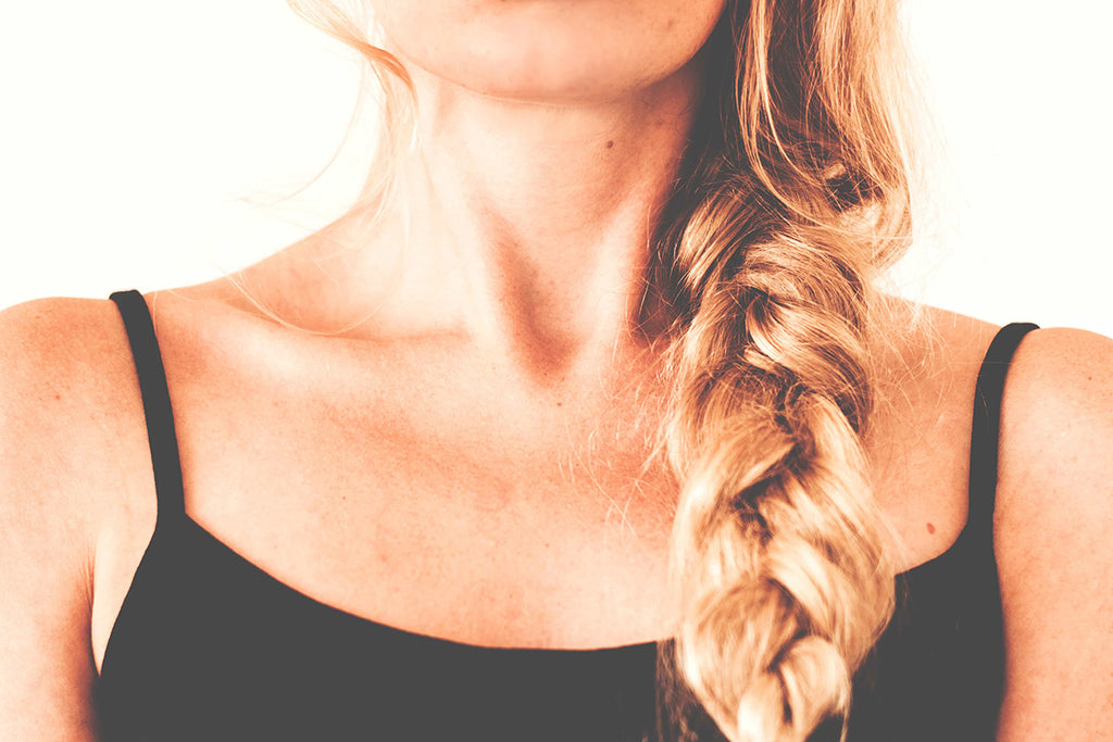 woman braided thick hair