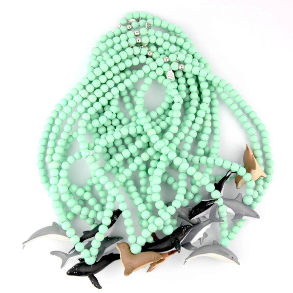 Green Aqua necklaces four sea iconic animals, collab