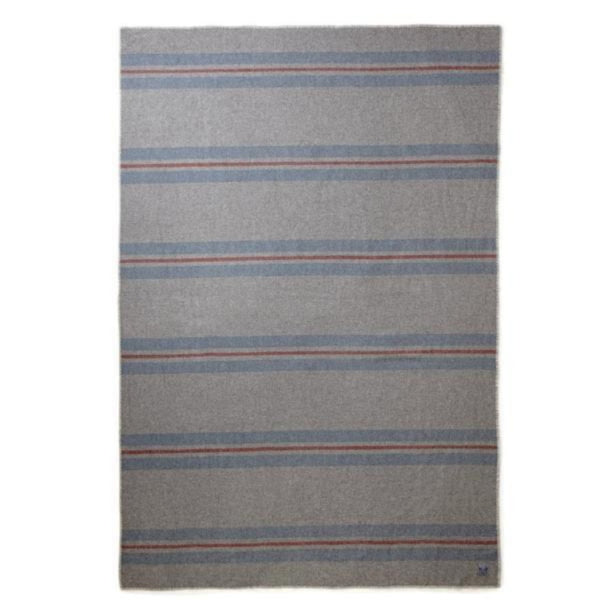 "Manta ""Cabin blanket, heather grey, brick blue & olimpi"", 100% lana merina - Just the Sea by SEA LOVERS"