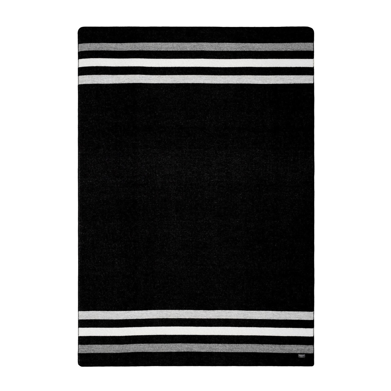 "Manta ""Revival stripe black & heather grey throw ""Edición Limitada"", 80% lana merina y 20% algodón - Just the Sea by SEA LOVERS"
