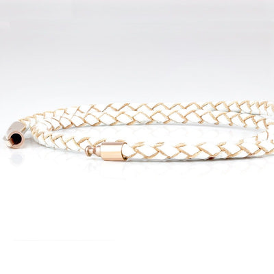 SUIVRE | LEATHER BRACELET | WHITE -in ROSE GOLD - MASISTES