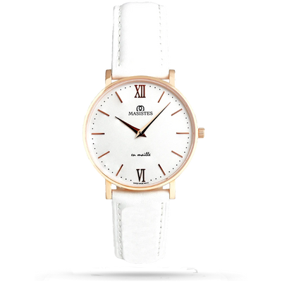 En Maille | 36MM | STEEL IN ROSE GOLD-LEATHER - MASISTES