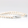 SUIVRE | LEATHER BRACELET | WHITE-STEEL - MASISTES