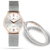 SILVER SET | Classic En-Maille / 36MM | Silver & ROSE GOLD Leather bracelet | Women's Watch