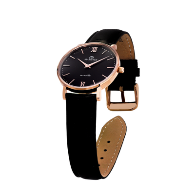 En Maille | women's watch | 36MM | STEEL ROSE GOLD-LEATHER - MASISTES