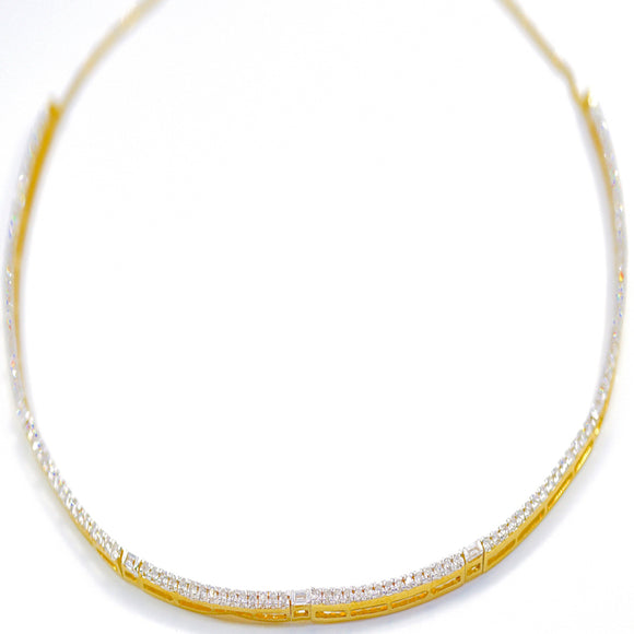 18k Diamond Baguette Choker Necklace - Eraya Diamonds