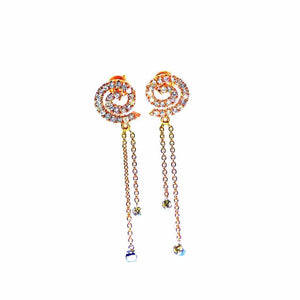 18K Spiral Diamond Fringe Earrings