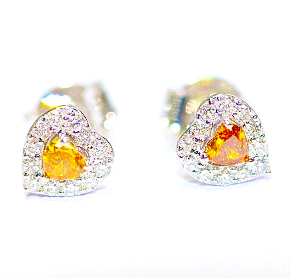 18k Yellow Heart Diamond Studs
