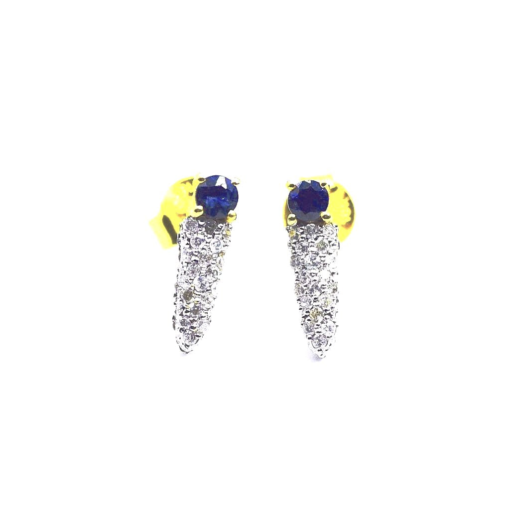 18K Dagger Diamond Sapphire Earrings