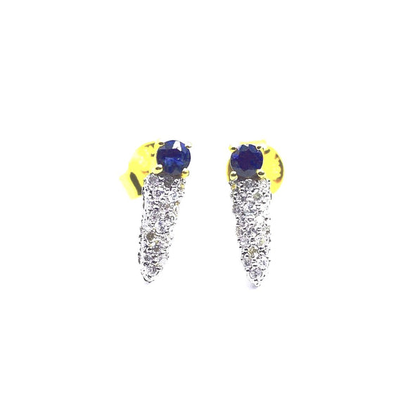 18K Dagger Diamond Sapphire Earrings - Eraya Diamonds