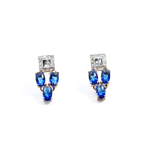 18K Diamond Square Earrings