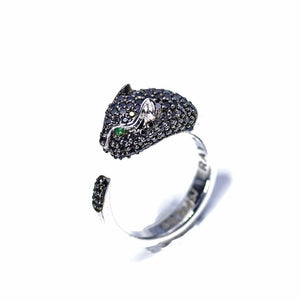 18K GOLD PANTHER BLACK DIAMOND MEN'S RING