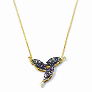 18K Black Diamond Petals Necklace