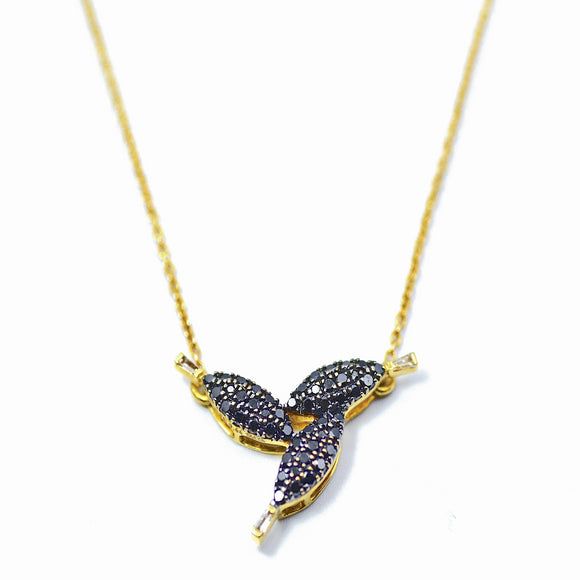 18K Black Diamond Petals Necklace - Eraya Diamonds