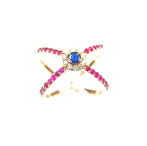 14k Diamond Ruby Sapphire Statement Ring - Eraya Diamonds