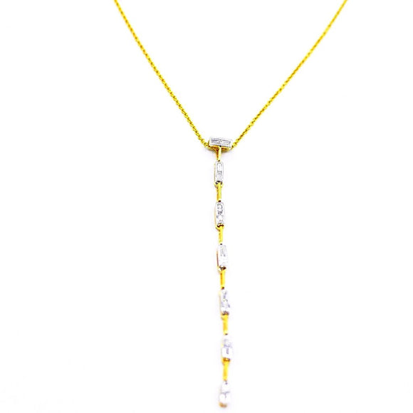 18k Baguette Diamond Lariat Necklace - Eraya Diamonds