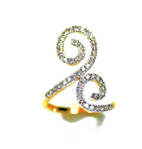 18k Double Spiral Diamond Statement Ring - Eraya Diamonds