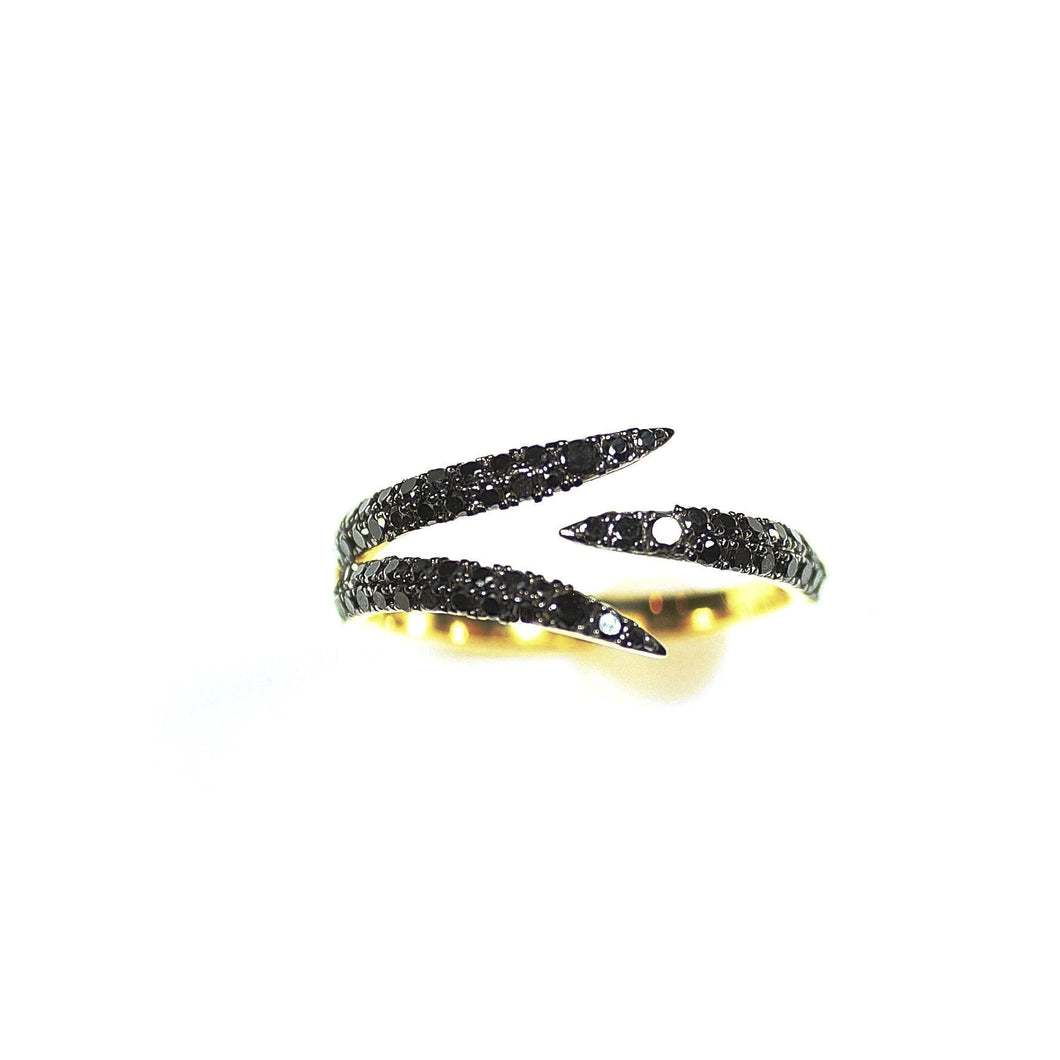 18K Black Diamond Claw Ring